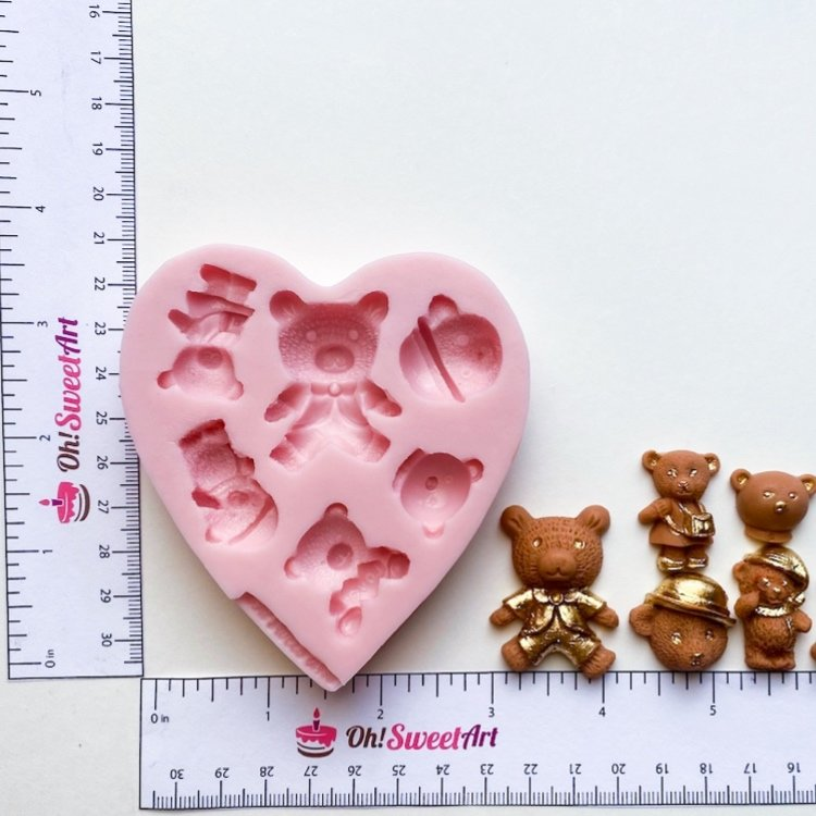 Assorted Bears Silicone Mold measures